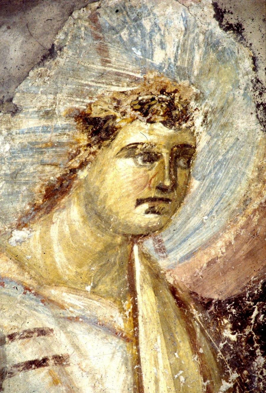 """Архангел Гавриил. Фрагмент фрески """"Благовещение Пресвятой Богородицы"""". Церковь Санта-Мария-Антиква в Риме. Фреска выполнена византийскими мастерами в 705 - 707 году."""
