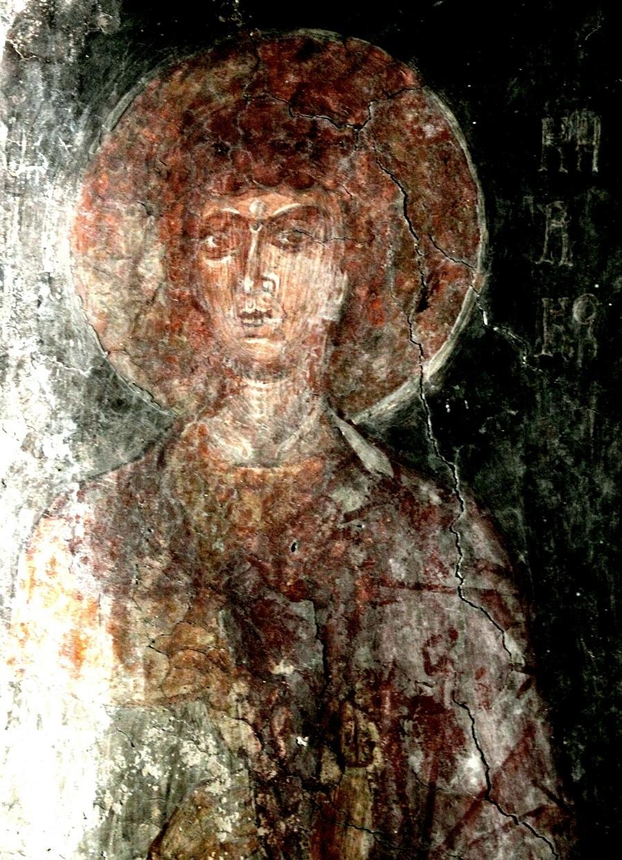 Святой Мученик Кирик Тарсийский. Фреска церкви Святой Марины в Пирге на Кипре.