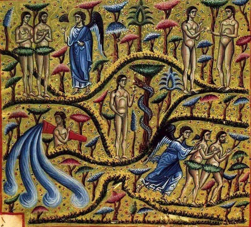 Грехопадение Адама и Евы. Изгнание из Рая. Византийская миниатюра.