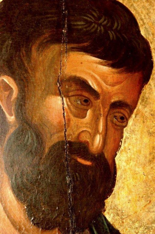 Святой Апостол и Евангелист Марк. Икона. Византия, 1360-е годы. Сербский монастырь Хиландар на Святой Горе Афон. Лик Святого.