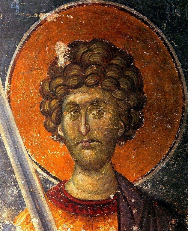 Святой Великомученик Меркурий Кесарийский. Фреска сербского монастыря Хиландар на Святой Горе Афон. 1318 - 1320 годы.