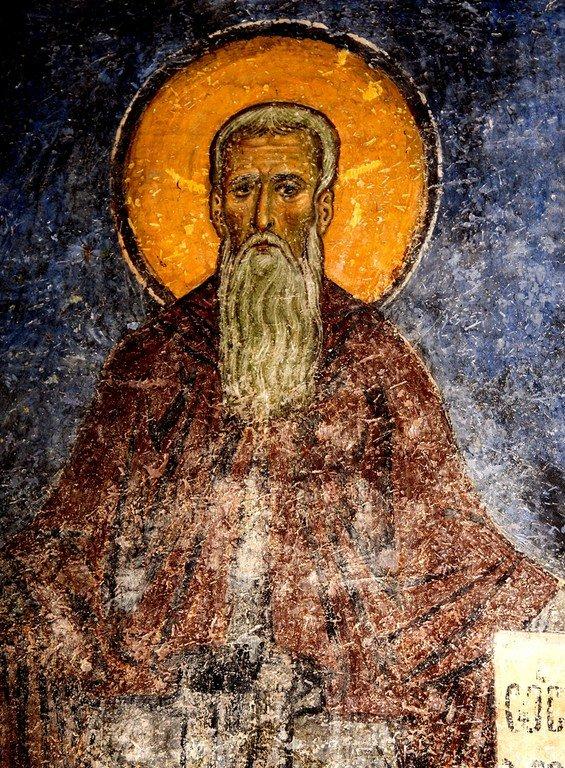 Святой Преподобный Арсений Великий. Фреска церкви Святого Пантелеимона в Нерези близ Скопье, Македония. 1164 год.