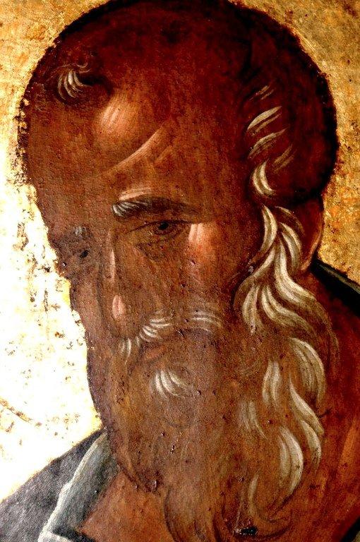 Святой Апостол и Евангелист Иоанн Богослов. Икона. Византия, 1360-е годы. Сербский монастырь Хиландар на Святой Горе Афон. Лик Святого.