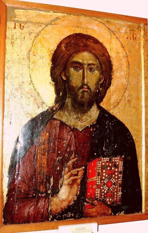 Христос Пантократор. Икона. Византия, третья четверть XIII века. Сербский монастырь Хиландар на Святой Горе Афон.