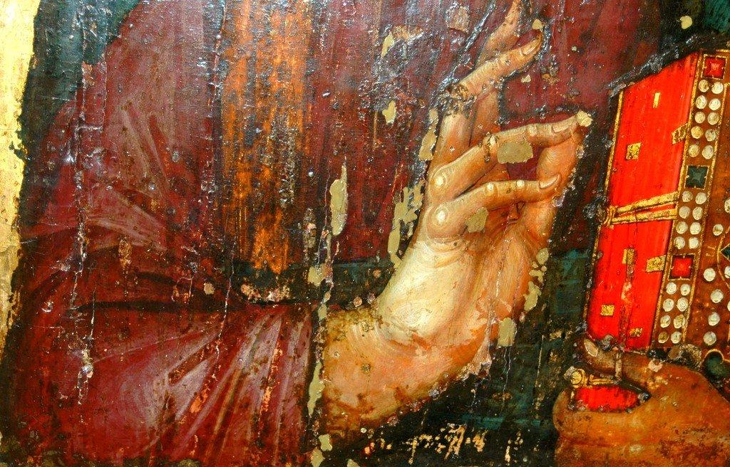 Христос Пантократор. Икона. Византия, третья четверть XIII века. Сербский монастырь Хиландар на Святой Горе Афон. Фрагмент.
