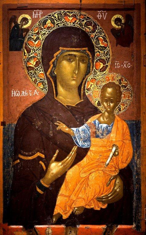 Богоматерь Одигитрия. Икона. Византийский музей в Кастории, Греция.