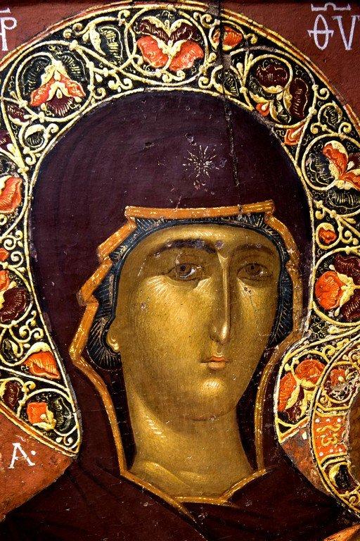 Богоматерь Одигитрия. Икона. Византийский музей в Кастории, Греция. Фрагмент.