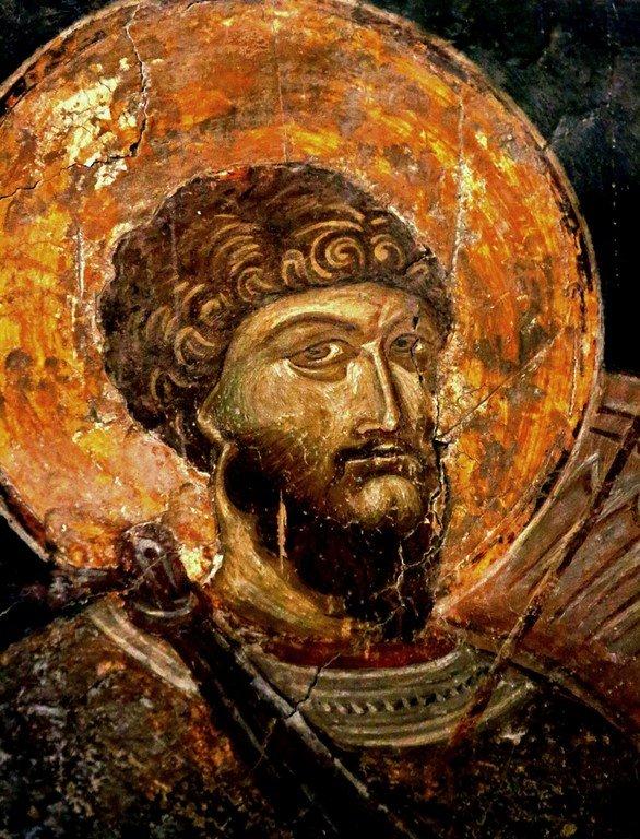 Святой Великомученик Феодор Стратилат. Фреска церкви Святых Архангелов в Кастории, Греция. 1360 год.
