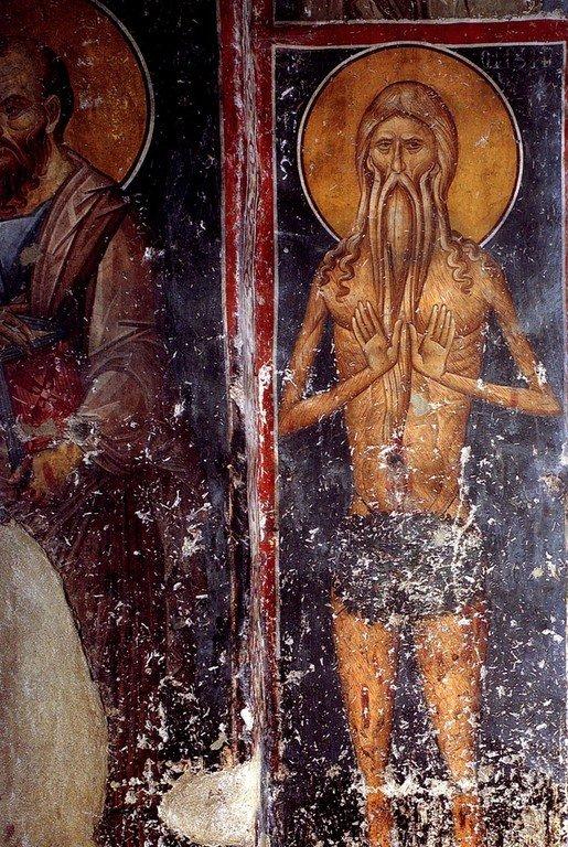 Святой Преподобный Онуфрий Великий. Фреска монастыря Панагии Олимпиотиссы в Элассоне, Греция. Конец XIII века.