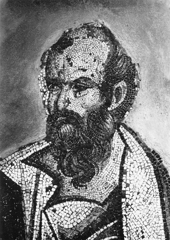 Святой Пророк Елисей. Мозаика церкви Святых Апостолов в Салониках, Греция. XIV век.