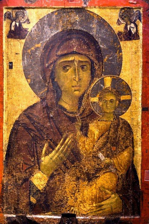 Богоматерь Одигитрия. Икона. Византия, последняя четверть XII века. Византийский музей в Кастории, Греция.