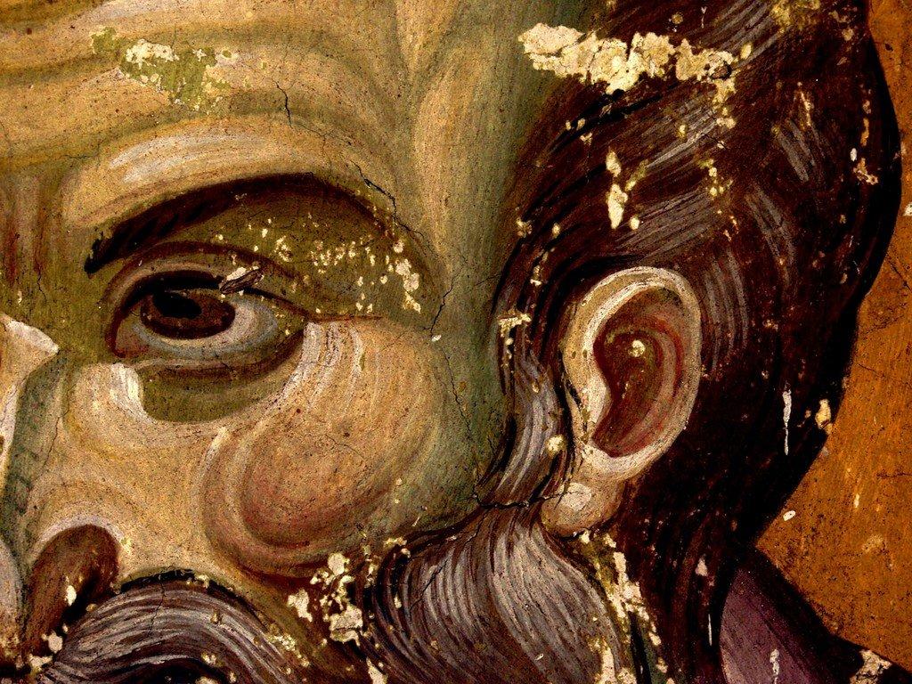 Святой Апостол Павел. Фреска храма Протатон (Протат) на Святой Горе Афон. Конец XIII века. Иконописец Мануил Панселин. Фрагмент.