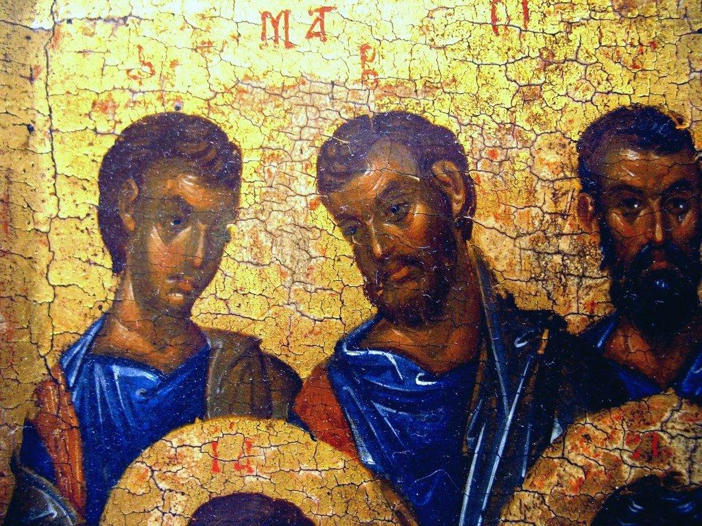 Собор Двенадцати Апостолов. Византийская икона XIV века. ГМИИ. Фрагмент.