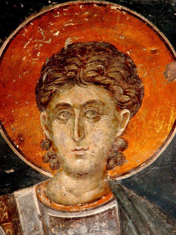 Святой Великомученик Прокопий (?). Фреска церкви Святого Николая Орфаноса в Салониках, Греция. XIV век.