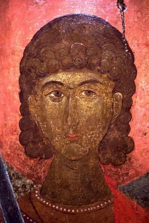 Святой Великомученик Прокопий. Икона. Византия, XIV век. Византийский музей в Верии, Греция. Лик Святого.