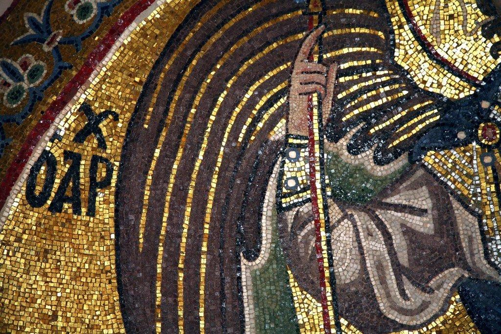 Архангел Гавриил. Мозаика монастыря Дафни близ Афин. Вторая половина XI века. Фрагмент.