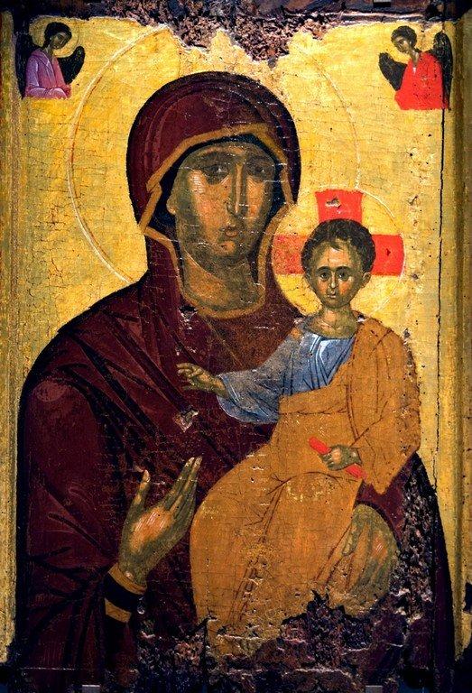 Богоматерь Одигитрия. Икона. Византия, третья четверть XIV века. Византийский музей в Салониках, Греция.