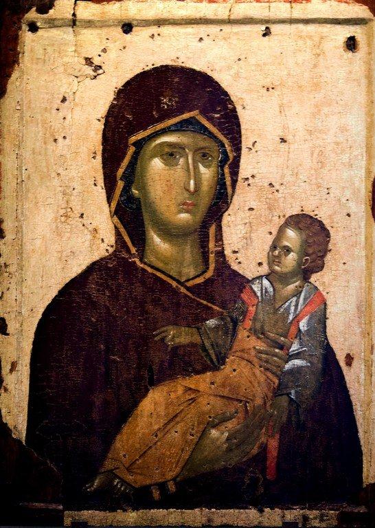 Пресвятая Богородица с Младенцем. Икона. Византия, первая четверть XIV века. Византийский музей в Салониках, Греция.