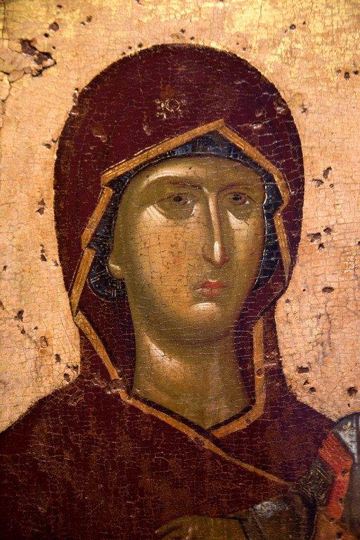 Пресвятая Богородица с Младенцем. Икона. Византия, первая четверть XIV века. Византийский музей в Салониках, Греция. Фрагмент.