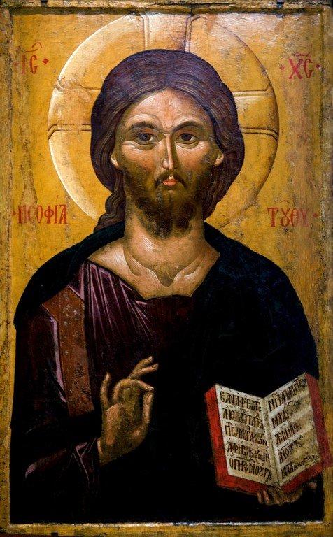 Христос Пантократор. Икона. Византия, вторая половина XIV века. Византийский музей в Салониках, Греция.