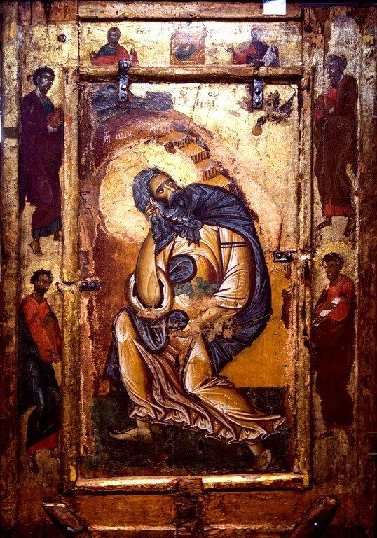 Святой Пророк Илия в пустыне. Икона. Византия, конец XII века. Византийский музей в Кастории, Греция.