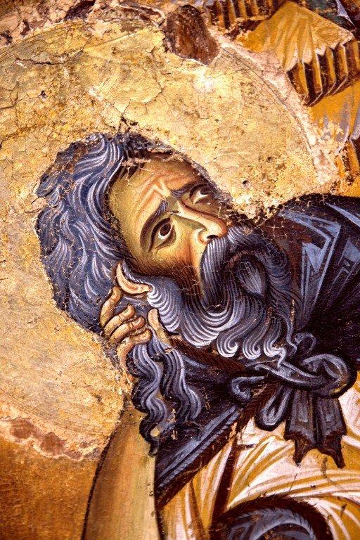 Святой Пророк Илия в пустыне. Икона. Византия, конец XII века. Византийский музей в Кастории, Греция. Фрагмент.