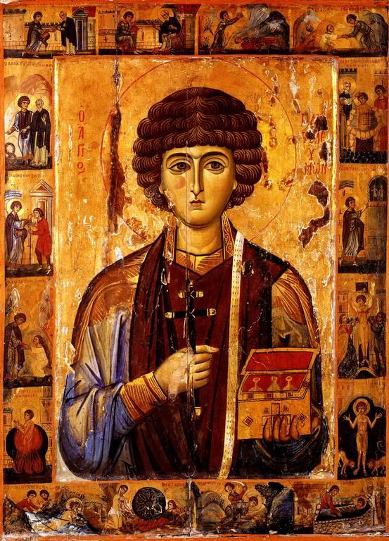 Святой Великомученик и Целитель Пантелеимон. Византийская икона начала XIII века. Монастырь Святой Екатерины на Синае.