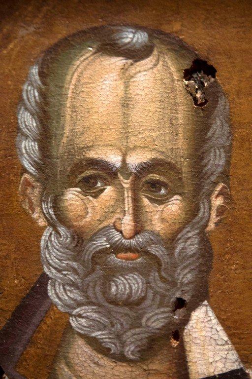 Святитель Николай, Архиепископ Мир Ликийских, Чудотворец. Икона. Византийский музей в Верии, Греция. Лик Святого.