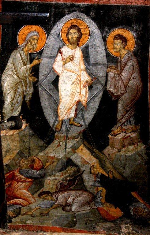 Преображение Господне. Фреска монастыря Панагии Олимпиотиссы в Элассоне, Греция. Конец XIII века.