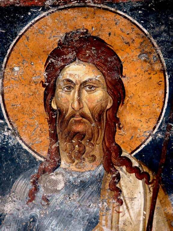 Святой Иоанн Предтеча. Фреска монастыря Панагии Олимпиотиссы в Элассоне, Греция. Конец XIII века.
