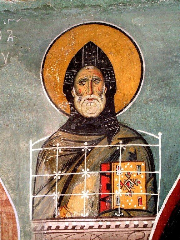 Святой Преподобный Симеон Столпник. Фреска церкви Панагии Аракиотиссы в деревне Лагудера, Кипр. 1192 год.
