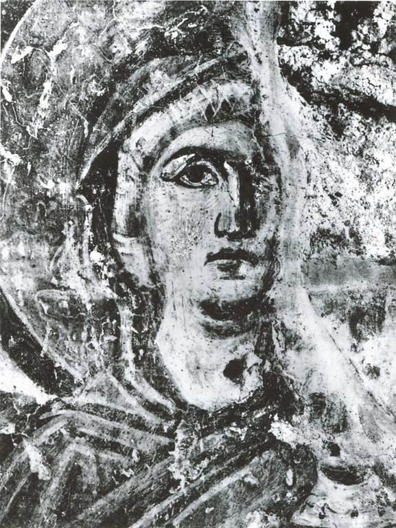 Святая Праведная Анна, матерь Пресвятой Богородицы. Византийская фреска в церкви Санта Мария Антиква в Риме. Середина VII века.