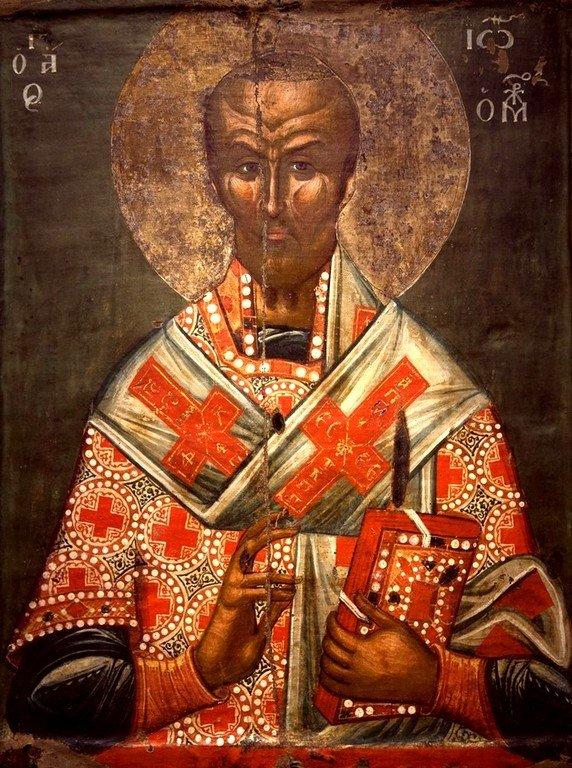 Святитель Иоанн Златоуст, Архиепископ Константинопольский. Икона. Византийский музей в Кастории, Греция.