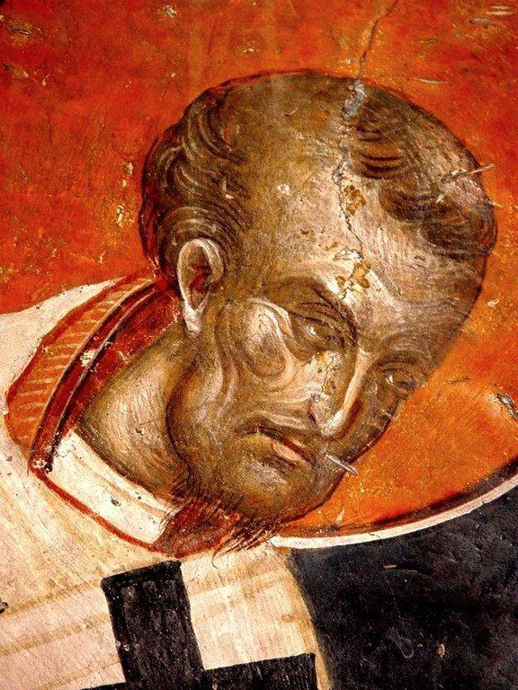 Святитель Иоанн Златоуст, Архиепископ Константинопольский. Фреска церкви Святого Николая Орфаноса в Салониках, Греция. XIV век.