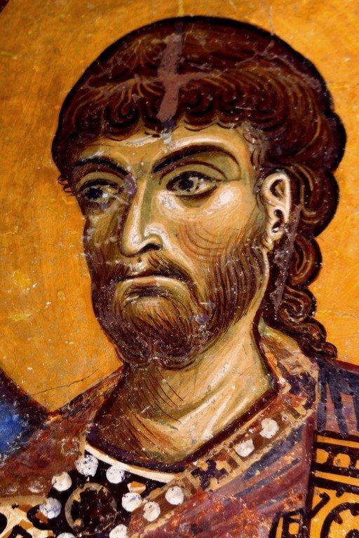 Святой Великомученик Никита Готфский. Фреска церкви Святого Пантелеимона в Нерези близ Скопье, Македония. 1164 год.