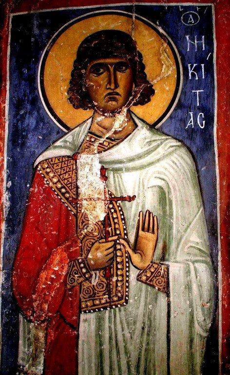 Святой Великомученик Никита Готфский. Византийская фреска. Кипр.