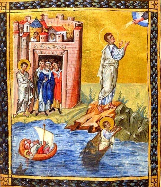 Сцены из Книги Пророка Ионы. Византийская миниатюра.