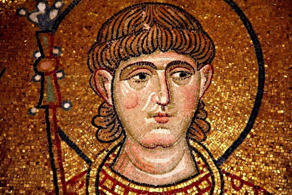 Святой Мученик Сергий Римлянин. Мозаика монастыря Дафни, Греция. XI век.