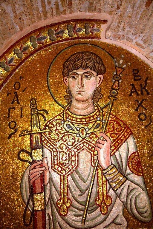 Святой Мученик Вакх Римлянин. Мозаика монастыря Дафни, Греция. XI век.