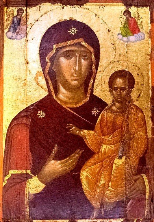Богоматерь Одигитрия. Икона. Византия, конец XIV века. Епархиальный музей в Ираклеоне, Крит.