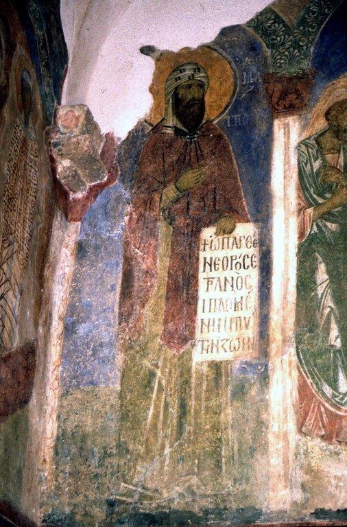 Святой Преподобный Косма, Епископ Маиумский, творец канонов. Фреска монастыря Бачково, Болгария. XI век.