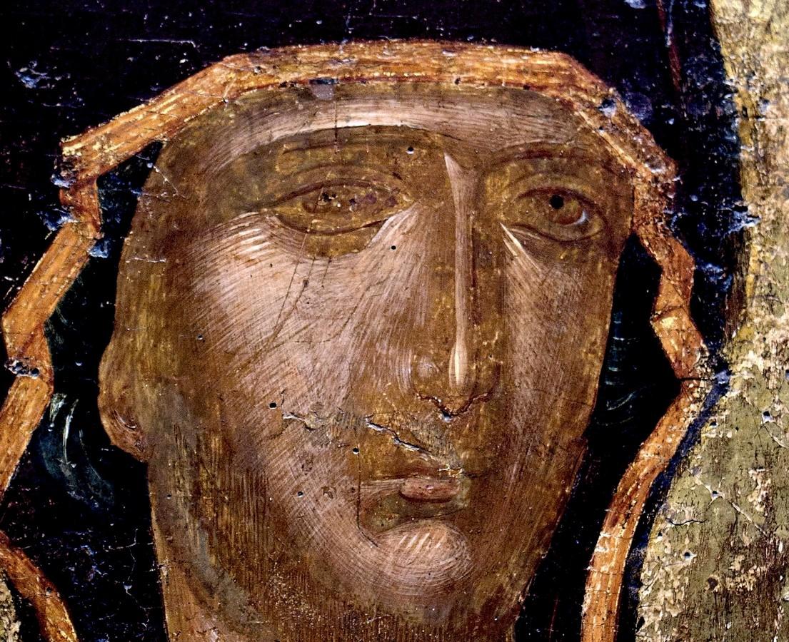 """Икона Божией Матери """"Одигитрия"""". Византия, Константинополь, XIV век. Византийский музей в Афинах. Фрагмент."""