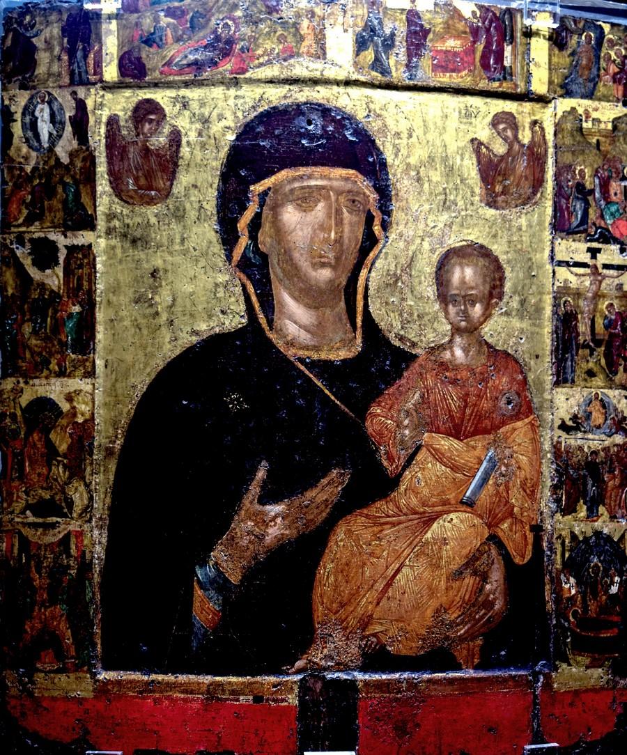 """Икона Божией Матери """"Одигитрия"""". Византия, Константинополь, XIV век. Византийский музей в Афинах."""