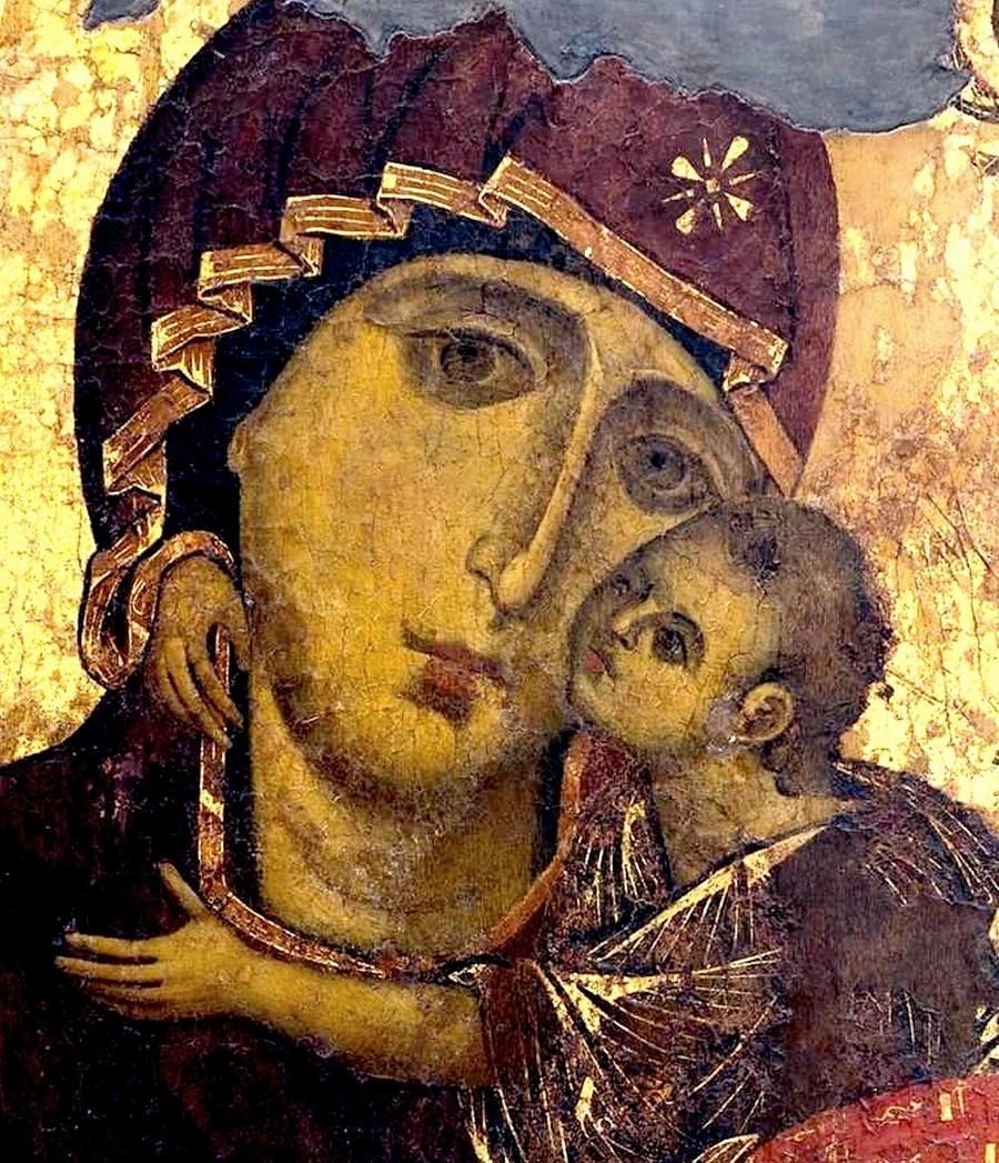 """Икона Божией Матери """"Елеуса"""". Византия, начало XII века. Находится в городе Валлетта, Республика Мальта. Фрагмент."""