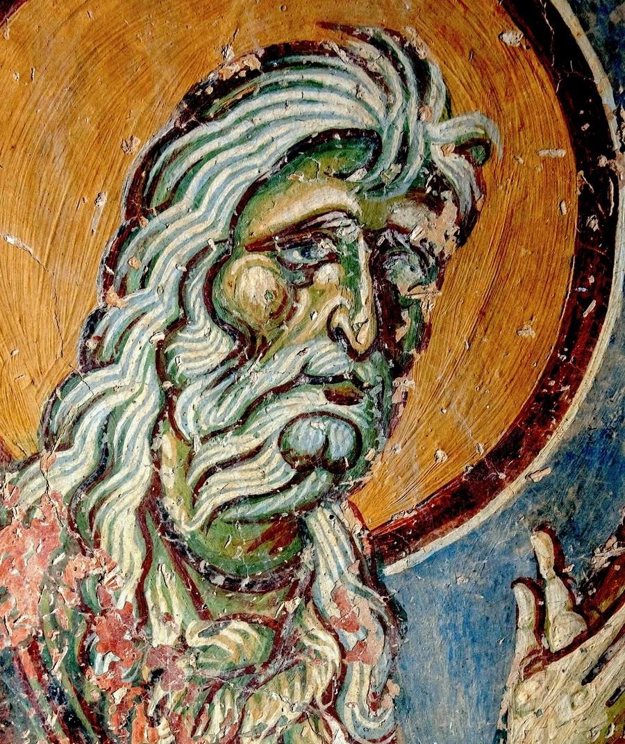 """Святой Пророк Божий Илия. Фрагмент фрески """"Преображение Господне"""". Церковь Святого Георгия в Курбиново, Македония. 1191 год."""
