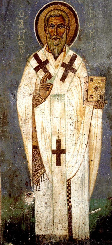 Священномученик Фока, Епископ Синопийский (Синопский). Византийская фреска в монастыре Ватопед на Афоне.