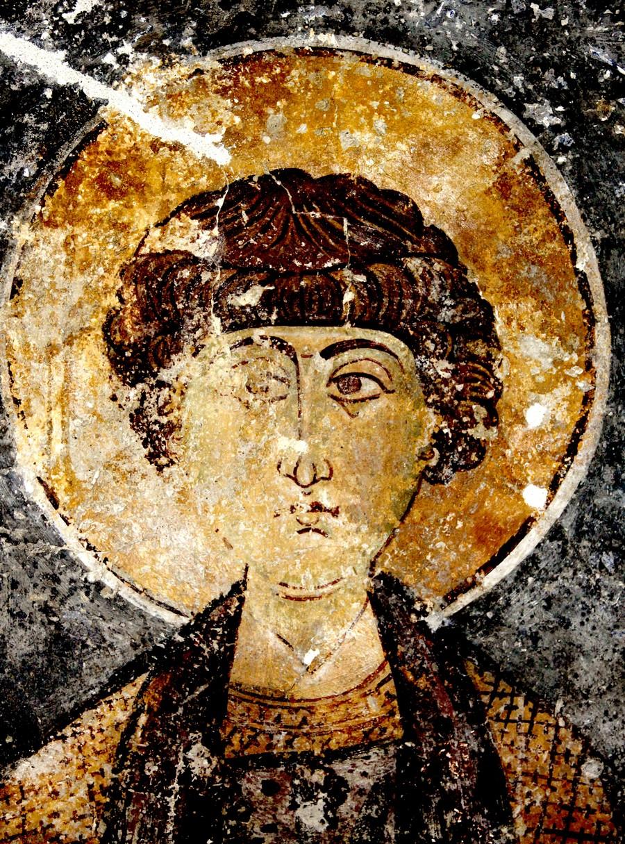 Святой Великомученик и Целитель Пантелеимон. Фреска церкви Святого Антония в Келлии на Кипре. XI век.