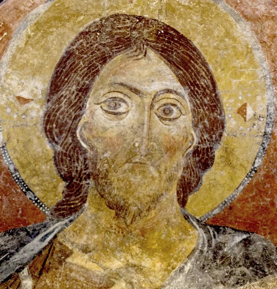 Христос Пантократор. Византийская фреска. Византийский музей в Афинах. Фрагмент.