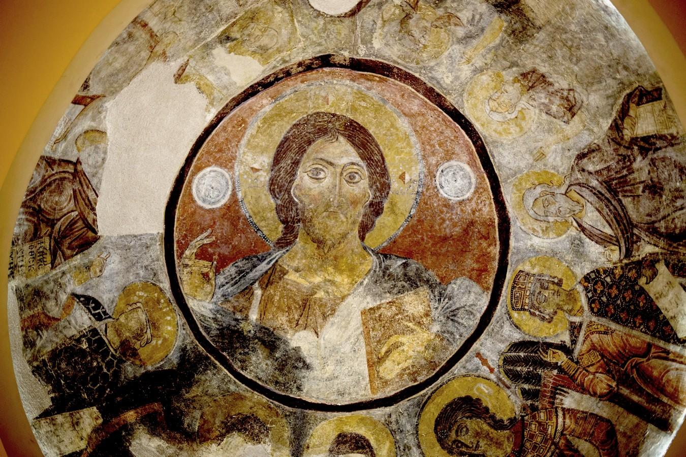 Христос Пантократор. Византийская фреска. Византийский музей в Афинах.