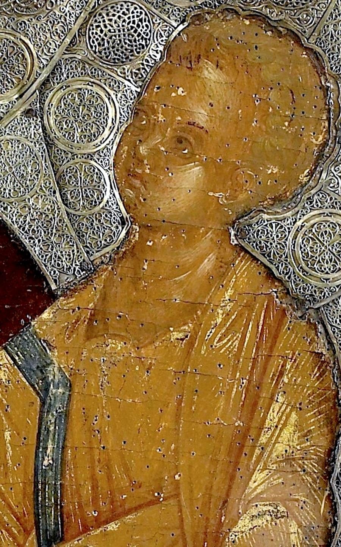 """Икона Божией Матери """"Одигитрия"""". Византия, XIV - XV век. Монастырь Ватопед на Афоне. Фрагмент."""